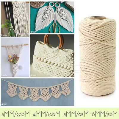 AU13.99 • Buy 100% Natural Cotton String Twisted Cord Beige Craft Macrame Artisan 3/4/5/6mm AU