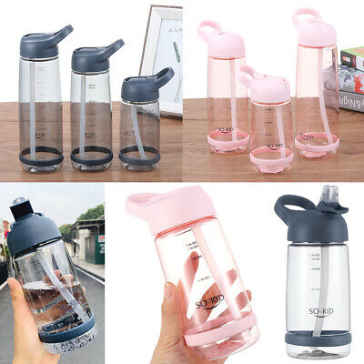 Portable Sports Water Bottle With Straw Plastic Drinks Mugs For Outdoor Travel ~ • 5.19£
