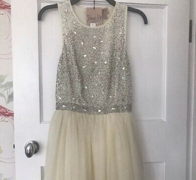Size 10 Women's Natural Beaded Tulle Skirt Dress Topshop Embellished White Cream • 30£