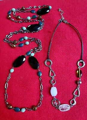 $ CDN17.48 • Buy Lot Of 2 Retired Lia Sophia Chunky, 2- Leather Strand Necklaces