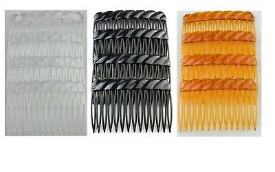 4 X French Twist Side Combs Hair Slide  Wedding Veil Grip Comb Clear,Amber,Black • 2.25£