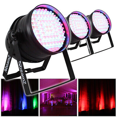 3x Beamz PAR 64 Can Disco Colour LED Party DJ Lighting Wall Lights Uplighters • 160£