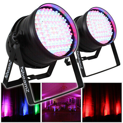 2x Beamz PAR 64 Can Disco Colour LED Party DJ Lighting Wall Lights Uplighters • 110£