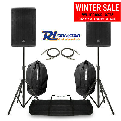 Pair 12  PA System Speakers With Stands & Bags Mobile DJ Band Stage 600W RMS • 349£