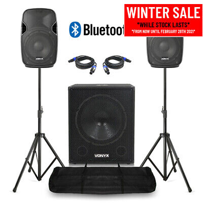 Powered  Speakers And Subwoofer Mobile DJ PA System With Bluetooth And Stands • 325£