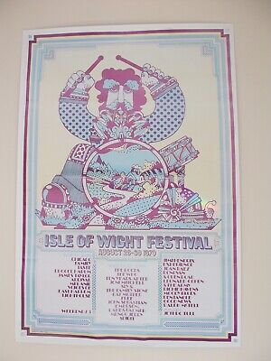 Huge 1970 Isle Of Wight Festival Dave Roe Designed Poster 760mm X 510mm Coloured • 40£