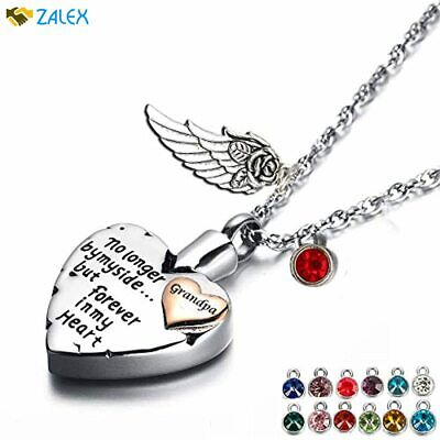 PREKIAR Heart Cremation Urn Necklace For Ashes Angel Wing Jewelry Memorial Penda • 20.89£
