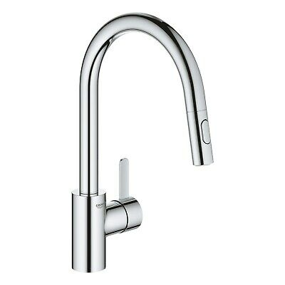 £154.96 • Buy Grohe Chrome High Spout Single Lever Pull Out Spray Mixer Kitchen Tap - Eurosmar