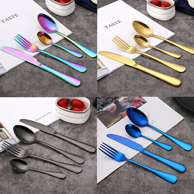 £9.99 • Buy 8/16/32pcs Stainless Steel Cutlery Sets Rainbow Colorful Fork For Dining UK