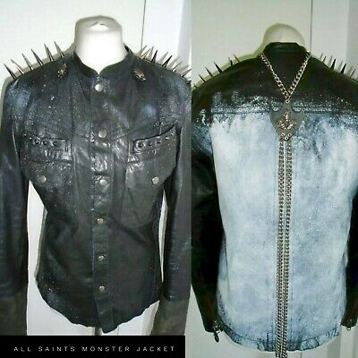 All Saints Men's Leather Monster Jacket PUNK STEAMPUNK BIKER SPIKES STUDS 40  • 159.99£