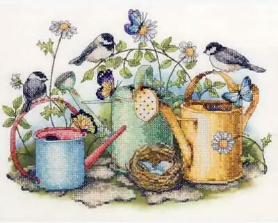 GARDEN BIRDS COUNTED CROSS STITCH KIT 14 COUNT AIDA FINISHED SIZE 31x25CM • 9.99£