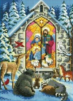 NATIVITY SCENE COUNTED CROSS STITCH KIT 14 COUNT AIDA FINISHED SIZE 24x31CM • 9.99£
