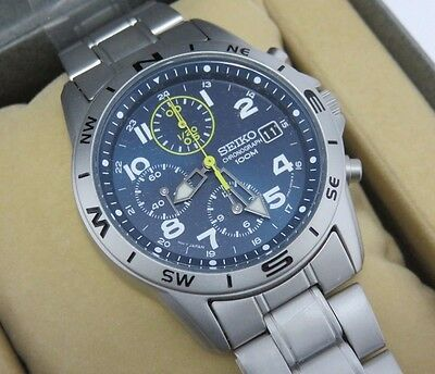 $ CDN317.35 • Buy Seiko Chronograph 100m Blue Dail Men's Watch SND379P1