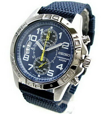 $ CDN304.01 • Buy Seiko Chronograph 100m Nylon Strap Men's Watch SNN105P1
