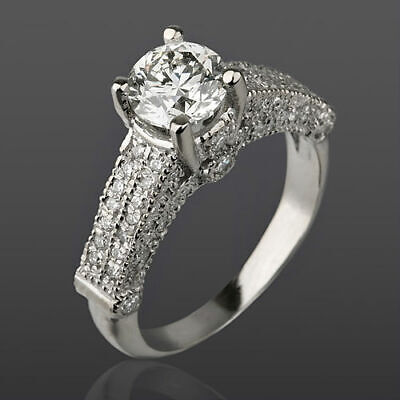 $ CDN3752.90 • Buy Si1 Diamond Ring Round 2 Carat 18k White Gold Accents 4 Prongs Earth Mined