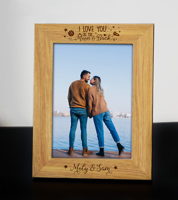 Personalised I LOVE YOU TO THE MOON AND BACK Wooden Engraved Photo Frame • 11.99£