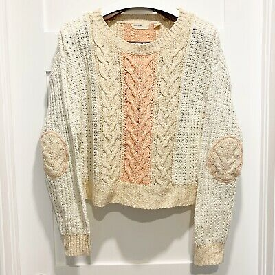 $ CDN40 • Buy Sleeping On Snow Anthropologie Medium M Cable Knit Sweater W Elbow Patches