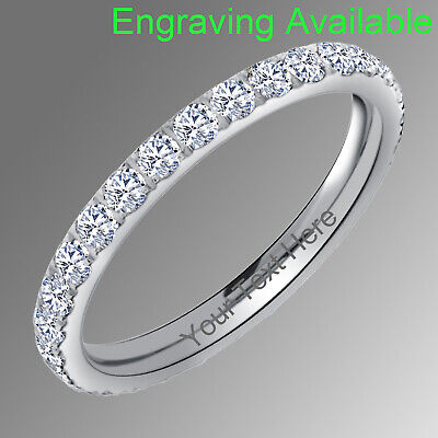 Titanium CZ Eternity Ring Women's Engagement Wedding Band Silver Pink Gold Black • 9.42£