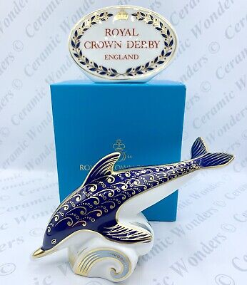 Royal Crown Derby Dolphin Animal Paperweight - Boxed - 1st Quality Gold Stopper • 60£