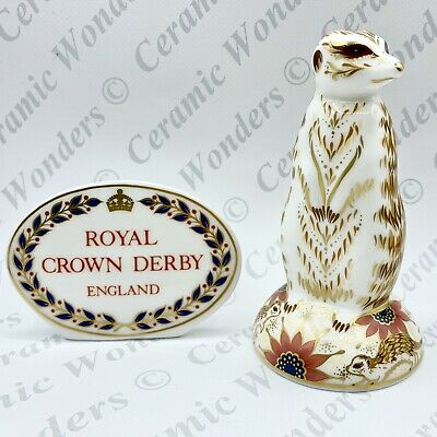 Royal Crown Derby - Meerkat Animal Paperweight - 1st Quality - Gold Stopper • 65£