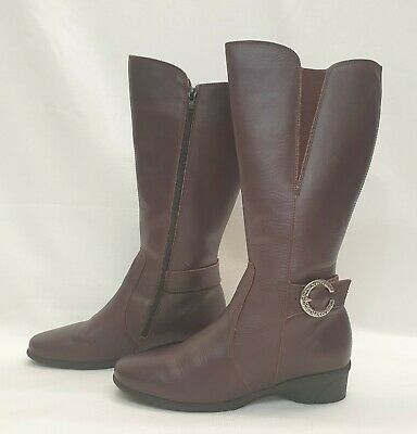 PAVERS ANATOMIC Ladies Womens Boots Size 4 EU 37 Burgundy Red Leather Kneef • 22.89£
