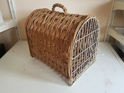 Old Small Brown Wicker Travel Vet Pet Carrier Portable Box Crate Cat Dog Rabbit • 19.99£