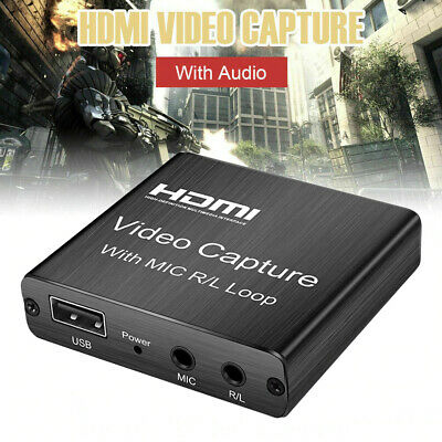 HDMI 1080P 4K Video Capture Portable Audio Card Home Office Game Recording W/Mic • 13.17£