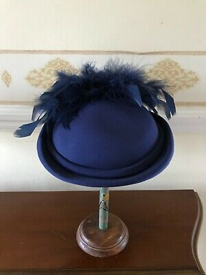 Vintage Blue Perch/Pillbox Hat With Feather Trim Millinery Cocktail Wedding • 10£