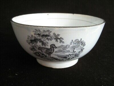 Pearlware Bowl Black Transfer Printed - Brameld Animal Series C1815-20 • 30£