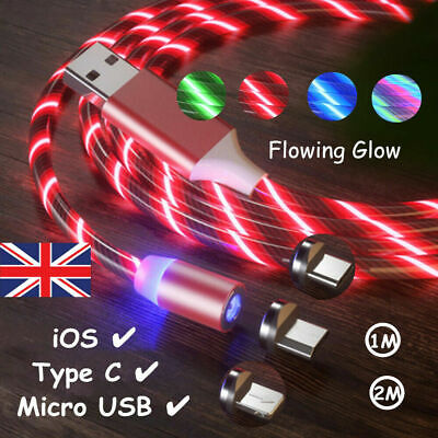 360 Magnetic LED Glowing Flowing Fast Charging Cable Type-C Micro USB Charger UK • 3.81£
