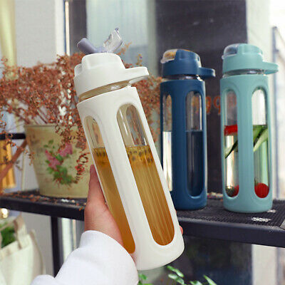 600ml Glass With Straw Large Capacity Water Bottle Portable Leak Proof Drinking • 12.94£