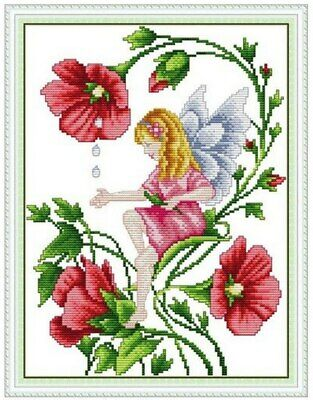 BUTTERFLY FAIRY COUNTED CROSS STITCH KIT 14 COUNT AIDA FINISHED SIZE 27x34CM • 9.99£