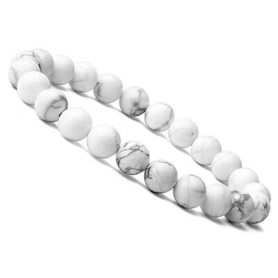 White Howlite Gemstone Bead Bracelet Healing Chakra Reiki Handmade Beaded Bangle • 3.99£