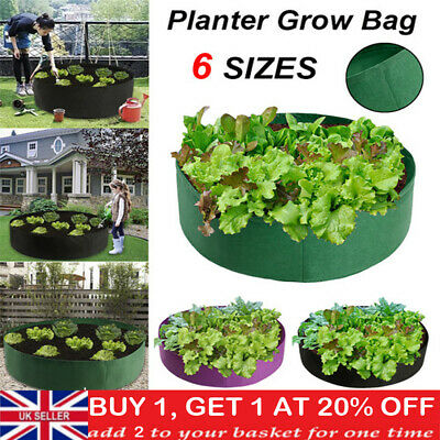 Fabric Raised Garden Bed Round Planting Container Grow Bags Breathable Felt Pot • 10.88£