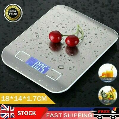 Digital Kitchen Weighing Scales Stainless Steel With Detachable Bowl 11lb/5kg • 8.90£