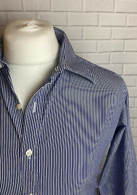 Tm Lewin Shirt Navy White Striped 16.5  - 34.5  Double Cuff Slim Fit  • 9.99£