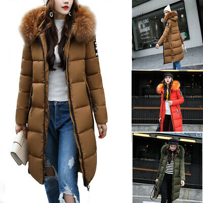 UK Women Puffer Fur Long Quilted Parka Ladies Winter Warm Coat Hooded Jacket UK • 26.66£