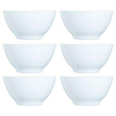 £12.99 • Buy 6x Luminarc 500ml Opal Glass White Cereal Bowl Breakfast Microwave Safe Soup NEW