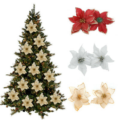 20/10x Artificial Christmas Tree Flowers 5.1''Glitter Poinsettia Xmas Decoration • 3.99£