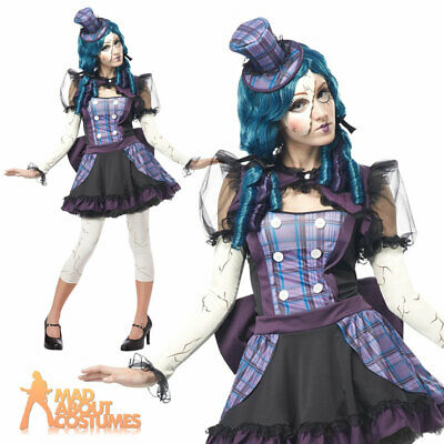 Adult Broken Doll Costume Ladies Womens Halloween Evil Fancy Dress Outfit  • 29.99£