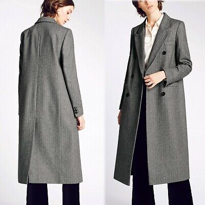 AU126.73 • Buy M&S Alexa Chung WOOL Blend LONG Double Breasted COAT ~ Size 18 ~ BLACK Mix