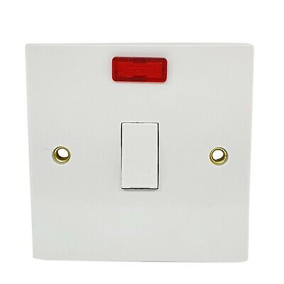 £3.99 • Buy Heavy Duty White Plastic 20Amp Double Pole Switch With Neon ***Best Quality***UK
