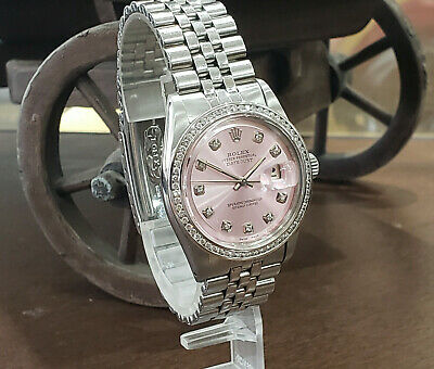 $ CDN9562.22 • Buy Mens Vintage ROLEX Oyster Perpetual Datejust 36mm Pink Dial Diamond Watch