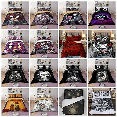 3D Skull Duvet Cover Bedding Set Pillowcases Quilt Cover Single Double King Size • 26.99£