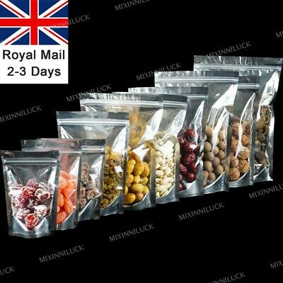 Heat Seal Foil Zipper Lock Bags Stand Up Pouch Clear Food Packaging Aluminum UK • 4.99£