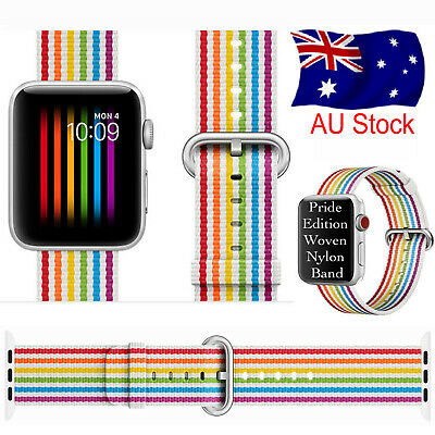 AU9.99 • Buy Pride Edition Woven Nylon Band Rainbow Stripe For Apple Watch 38 40 42 44mm S1-6