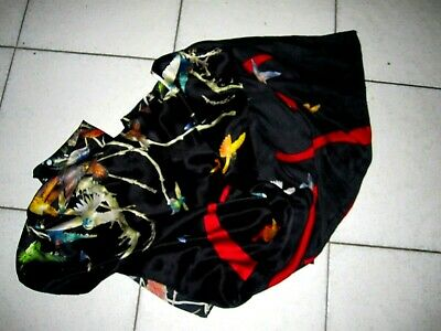 AU245 • Buy Gorgeous Alexander McQueen Pure Silk Black Multicolored Bird Print Scarf