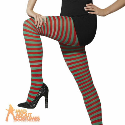 Ladies Elf Tights Striped Red + Green Christmas Fancy Dress Costume Accessory • 3.99£