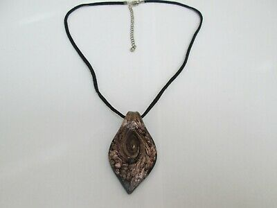 Black Leather Cord Necklace And Glass Pendant • 0.99£