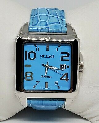 $299.99 • Buy Mens Millage Prodigy Silver Tone Blue Leather Strap Swiss Watch N1726 ML705 A7